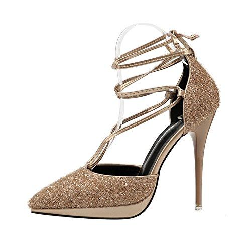 GAOLIXIA Femmes Chaussures Paillettes Printemps Été Croix Bretelles Talons Sandales Talon Stiletto Plate-Forme Sequin Fête De Mariage Unique Chaussures Noir Gris Vert Or