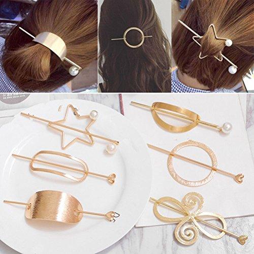 Cuhair(tm), 7 einzigartige, trendige, Haarclips, für braune Haare, Metall-Design
