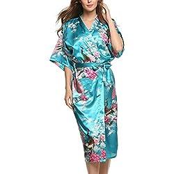 Damen Morgenmantel Kimono Robe Bademantel Nachtw?sche kurz aus Satin mit Peacock und Bl¨¹ten entwerfen Robe f¨¹r Hochzeit & Party & Schlafzimmer Lange Stil Acid Blue M