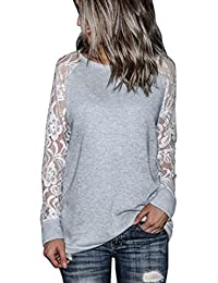 Sale Clearance/Bestoppen Women Ladies Sexy Long Sleeve Crewneck Lace T-Shirt Top Casual Hollow Out Shoulder Flower Blouse Jumper Spring Fashion New Look Solid Crop Tops For Women Ladies