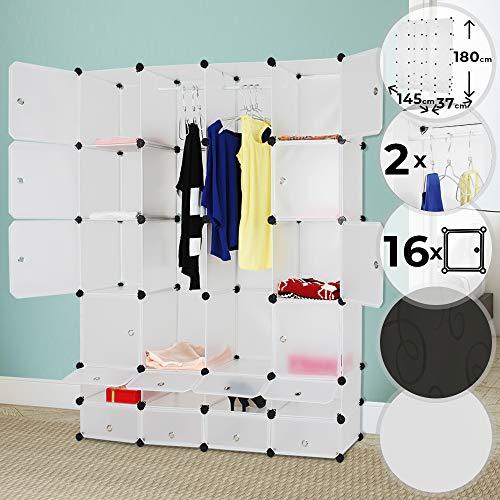 Kleiderschrank   aus Kunststoff, 145/180/37 cm, 2 Offene und 16 Geschlossene Fächer, mit 2 Kleiderstangen, Schwarz mit Muster oder Weiß   Modularer Schrank, Garderobenschrank, Regalsystem (Weiß) - 2 Tür Bücherregal