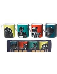 BBC Doctor Who® DW Dr Who Juego de 4 tazas de cerámica para el café o el té en caja regalo que incluye diseños de Tardis, Dalek y Cyberman