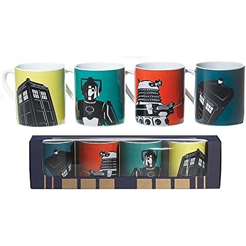 Doctor Who® DW Dr Who oficial de café de cerámica taza de té tazas en caja Set de regalo (4unidades), diseño de Doctor Who y Tardis, DALEK