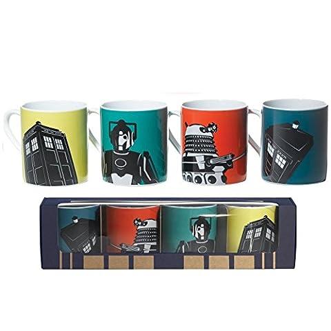 Ensemble de mugs Doctor Who, en céramique, lot de 4 - inclut motif Tardis, Dalek et Cyberman