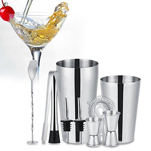 Professionelle Bierzapfanlage (Edelstahl-Cocktail-Shaker-Set, 10-tlg. Barkeeper-Set Cocktail-Geschenkset bestehend aus Shaker, Eiszange, Messbecher, Eiscrusher, Sieb, Ausgießer und Rührlöffel)
