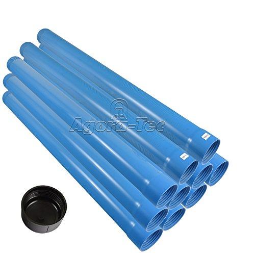 Agora-Tec® 3 Zoll DN 80 Brunnenrohr - Set (10 Meter) mit 8 Meter Vollwandrohr, Endkappe und 2 Meter Filterrohr mit einer (Schlitzweite: 0.5mm)