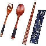 Starter set da tavola in legno, stile giapponese Eco friendly, wire, cucchiaio, bacchette da tavola/cucina set/set di posate da viaggio