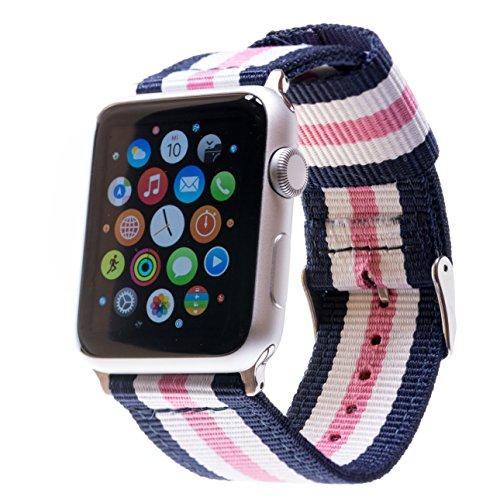 Premium Ersatzarmband kompatibel mit allen Apple Watch Modellen | Für 44/42mm Apple Watch & 40/38mm Apple Watch inkl. Edelstahl-Adapter (40/38mm Band Blau-Weiß-Rosa-Weiß-Blau mit silbernem Adapter) -