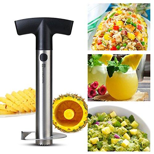 SAVORLIVING Couteau d'ananas Acier Inoxydable éplucheur Corer Trancheuse, Pineapple Corer Slicer