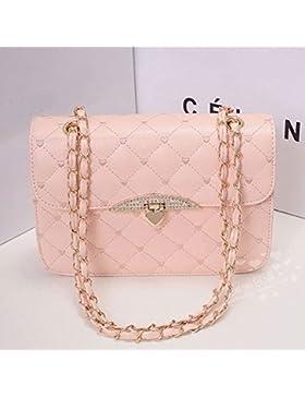 eowder Pink Mädchen Damen PU Leder, Kette Schultertasche Cross Bag Tragetaschen Geldbörse (1PC)