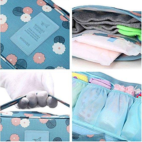 isuperb Bolsa Ropa Interior Sujetador Almacenamiento Lavado bolso escritorio Bra Bag 26x 13x 12cm azul flores