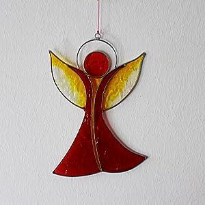Fensterdeko   Engel aus Resin rot und gelb   Fenster Deko zum Aufhängen   Regenbogenkristall   Sonnenfänger   Engel Deko Weihnachten   Deko Engel   Fensterschmuck Weihnachten