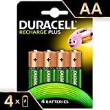 Duracell Recharge Plus Piles Rechargeables Type AA 1300 Mah , Lot de 4 Piles