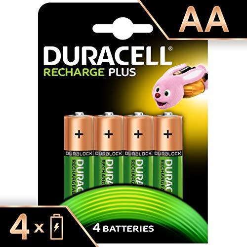 Duracell Recharge Plus Piles Rechargeables type AA 1300 Mah , Lot de 4 piles