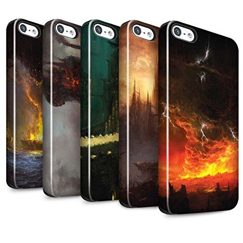 Offiziell Chris Cold Hülle / Glanz Harten Stoßfest Case für Apple iPhone SE / Dragonfel Tempel Muster / Gefallene Erde Kollektion Pack 8pcs