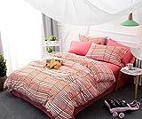 LUYR.R Baumwolle Einfache 4 Sätze Streifen Bettwäsche Steppdecke 1pc Duvet Abdeckung 2pcs Shams 1pc Flat Sheet, 150cm