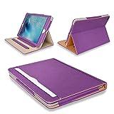 """MOFRED® Professionelle Lederhülle für Apple iPad 9.7 (erhältlich seit 2017) mit mehreren Funktionen, Standby-Hülle mit eingebautem Magnet für Ruhemodus- und Reaktivierungsfunktion. Laut """"The Daily Telegraph"""" die beste Hülle für iPad violett/hellbraun iPad Air 2"""