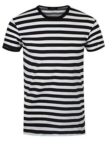 Kostüm Shirt Weiß Schwarz Und Gestreiften - Männer T-Shirt weiß/schwarz gestreift