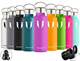Super Sparrow Stainless Steel Vacuum Insulated Water Bottle - Double Wall Design - Standard Mouth - 500ml - Non-Toxic BPA Free - Ideal as Sports Bottle - 2 Lids