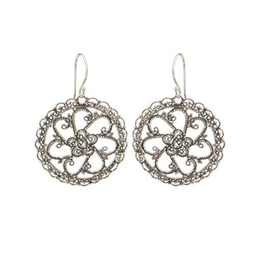 Estilo étnico - Pendientes artesanales de plata de ley oxidada o vieja (joyería de plata oxidada étnica y artesanal - Regalo día de la Madre)