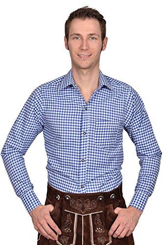 Edelnice Trachtenmode Trachten Herren Hemd blau weiß kariert Gr XXXL