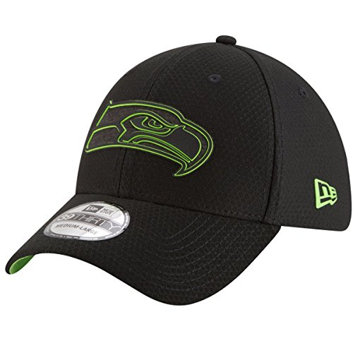 New Era NFL Seattle Seahawks Official 2018 Training 39Thirty Black Stretch Cap - Schwarz Größe S-M, Farbe Rot (Hut Seattle Rote Seahawks)