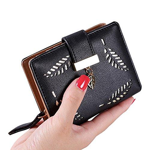 Donne Portafoglio Piccolo Carta Titolare Zip Moneta Borsa Frizione Borsa Portamonete Cachi Nero