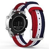 MoKo Bracelet de SmartWatch Gear S3, Bande de Remplacement Ajustable en Nylon Tissé pour Samsung Galaxy Watch 46mm /Gear S3 Frontier / S3 Classic/Moto 360 2nd Gen 46mm SmartWatch, Bleu+Blanc+Rouge