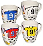 alles-meine GmbH 1 Stück _ XL Kaffeetasse / Henkeltasse - Jumbo - 500 ml -  Fussball - Trikot blau & rot  - groß - Porzellan / Keramik - Teetasse - Fußballspieler - Trinktas..