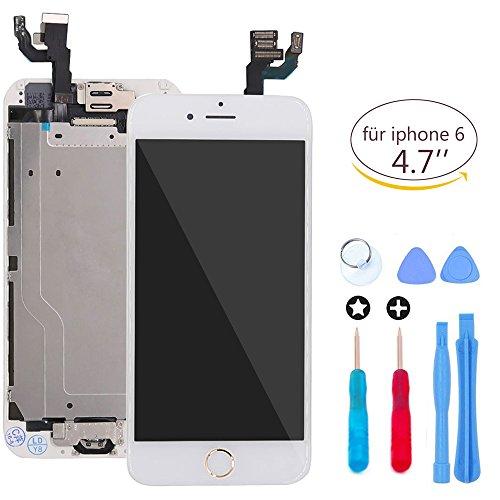 LCD Display Touchscreen Digitizer - Glasobjektiv mit Kamera und Hauptknopf Reparatur-Wiedereinbau für iPhone 6 Weiß Gold Tasten(4,7 Zoll) mit Werkzeug -