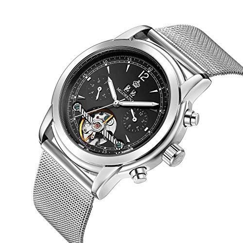 Herrenuhren Mode Hohl Wasserdicht Tourbillon Mechanische Uhr, Silberring Schwarz Mesh-Gürtel