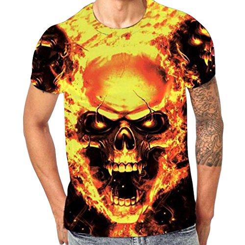 Routinfly Männer Kurzarm-Tops, männlichen Schädel 3D Print Shirt Bluse (Gold, 5XL)
