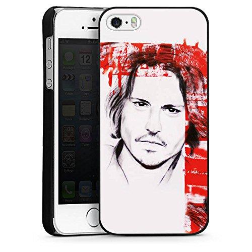 Apple iPhone 5 Housse Étui Protection Coque Johnny Depp Visage Dessin CasDur noir