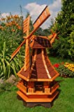 Deko-Shop-Hannusch Windmühle 2 stöckig kugelgelagert 1,30 m Bitum rot mit Beleuchtung Solar, Solarbeleuchtung, mit extra Windrad hinten am Kopf, imprägniert