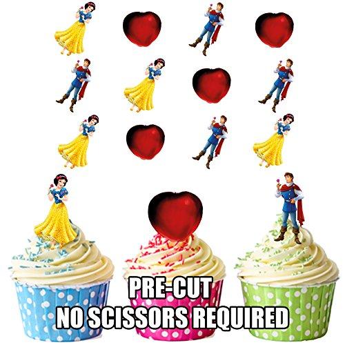 prédécoupés Disney Blanche-Neige comestible pour cupcakes/gâteau Décorations (lot de 12)