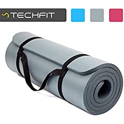 TechFit Yoga Mat Extra Thick 15mm Carry Straps, 180x60 cm, Non Slip, Perfect Fitness, Gym, Floor Exercises, Camping, Aerobic, Stretching, Abs, Pilates (Grey)