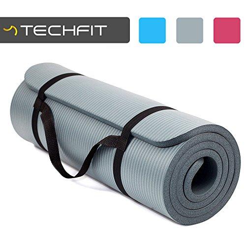 TechFit Colchón para Yoga y Fitness, Espesor Extra de 15mm, 180 x 60 cm, Ideal para Ejercicios en el Suelo, Gimnasia, Camping, Estiramientos, Abdómenes, Pilates (Gris)