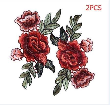 2 Stück Rose Blume Stickerei Spitze Aufn?her Aufbügler Applikation Iron on Patches Für T-Shirt Jeans Hut Dekor (Patch-dekor)