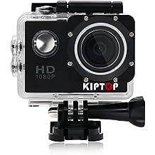 KIPTOP 1080p 12MP de Imagen y Vídeo Cámara Deportiva Impermeable, Apoyo Sumergible hasta 30 m,Lente de Gran Angular de 170 Grados pantalla LCD de alta definición y Accesorios Múltiples para Deportes al Aire Libre