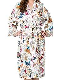 India Rose Gelber Damen/Unisex Baumwoll- Bademantel, Kimono, Morgenmantel, Brautjungfernkleid. 100% Bio-Baumwolle. Handsiebdruck. Freizeit- und Hochzeitskleidung. Einheitsgröße für 36-44
