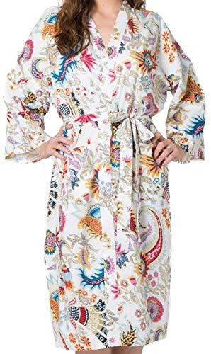 India Rose Weißer Damen/Unisex Baumwoll- Bademantel, Kimono, Morgenmantel, Brautjungfernkleid. 100% Bio-Baumwolle. Handsiebdruck. Freizeit- und Hochzeitskleidung. Einheitsgröße für 36-44 -
