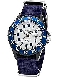 Regent Kinder Jugend-Armbanduhr Elegant Analog Textil Stoff-Armband dunkelblau Quarz-Uhr Ziffernblatt silber URF1123