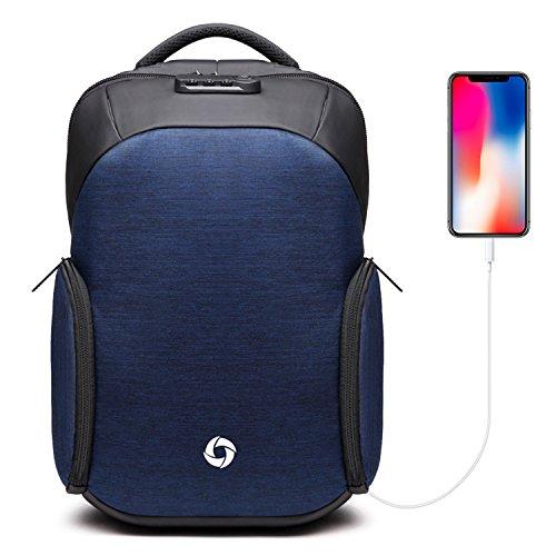 Sac à Dos Ordinateur 15.6 pouces Anti-vol Sacs à dos Imperméable pour ordinateur Oxford École avec USB Charge Port Pour Hommes et Femme (Bleu)
