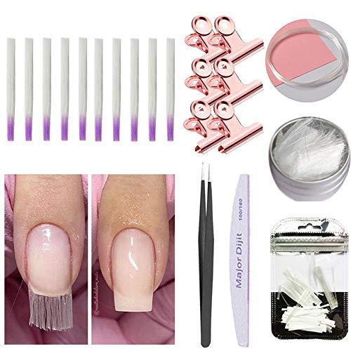 21 Unids Fibra De Vidrio Uñas Extensión Kit, Volwco Nails Vidrio Acrílico Uña Salón Extensión...