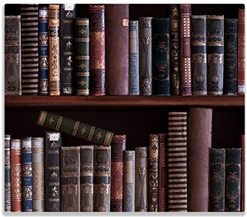 Wallario Herdabdeckplatte/Spritzschutz aus Glas, 1-teilig, 60x52cm, für Ceran- und Induktionsherde, Bücherregal mit Alten Büchern