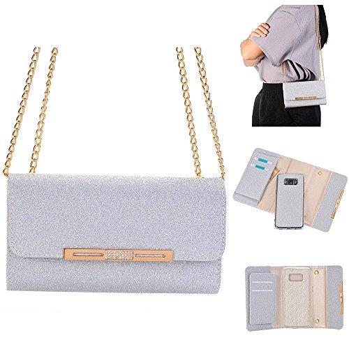Weiße Clutch Wallet (XGUO Samsung Galaxy S8 Plus Multifunktions Geldbörse Clutch Bling Kristall Schutzhülle Case Cover Mit 7 Kartenfächer Wallet Brieftasche abnehmbaren Magnet Handy Schutzhülle(S8 Plus,Weiß))