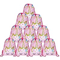 Tagaremuser 12 Pack Unicorn Gift Bags Drawstring Party Bag Unicorn Party Favors(13.4 x 10.6 inch Style 1)