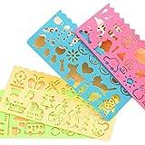 kentop 4pièces Plastique semelles de dessin échelle semelles pour quotidien Cahier 14.8 * 6.9cm Coloré 4...