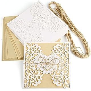 Anladia 10er Einladungskarten Elegante Herz Spitze Design Kraftpapier mit Jute Band Karten, Umschläge, Schleifer, Einlegeblätter OHNE DRUCK Hochzeit Geburtstag Taufe Party Einladung