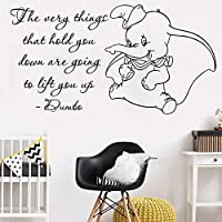 Baobaoshop Cute Dumbo Quote Wall Stickers Kids Room Art Vinyl Mural Quality Removable Nursery Elephant Poster Wall Decals Home Decor 56x30cm